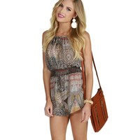 Sale-taupe On The Boardwalk Romper