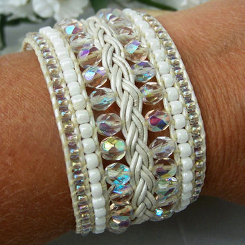 Beaded and Braided Leather Cuff Bracelet Crystal & White - Bridal Jewelry, Hand Beaded Custom Cuff Bracelet