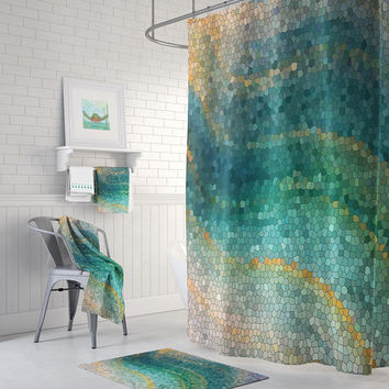 Ocean Mosaic Shower Curtain Set - Distant Shores wave teal green shower curtain, shower set, extra long