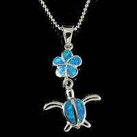 INLAY OPAL HAWAIIAN PLUMERIA FLOWER DANGLE HONU TURTLE PENDANT SILVER 925
