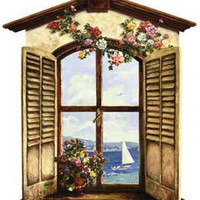 Ocean View Window Peel and Stick Wall Mural