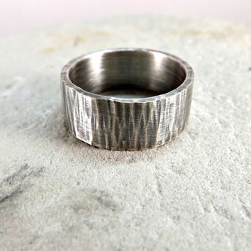 hammered silver ring tree bark ring wedding ring 8mm wide mens ring rustic wedding band waterfall pattern