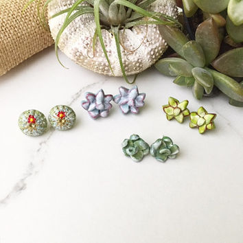 Buyer's Choice Succulent Earring Posts, Plant Sedum Earring Studs, Clay Botanical Jewelry, Handmade Gift for Her, Dainty Polymer Clay Cactus