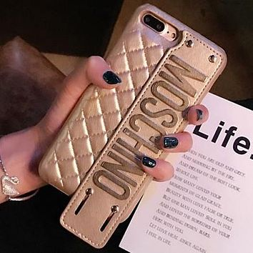 Moschino Tide brand letter wristband iPhoneX phone case gold