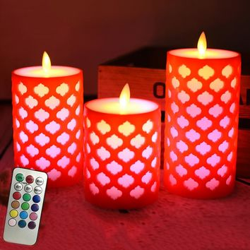 Dancing flame LED Candles with RGB Remote Control,Grid Pillar led wax
