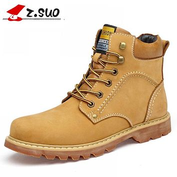 Winter Boots Men Genuine Leather Work&Safety Ankle Boots Spring Natural Leather Winter Shoes Winter Warm Boots