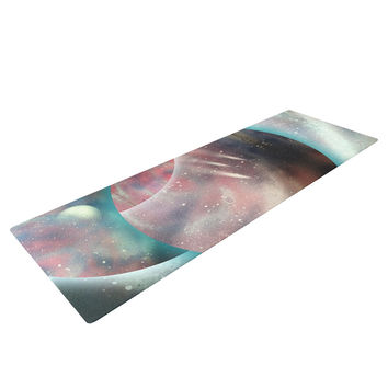 "Infinite Spray Art ""Dimensions""  Teal Planet Yoga Mat"