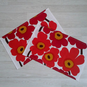 Marimekko linen napkins, fabric napkins, cloth napkins, table napkins, modern napkins, Eco friendly, Unikko marsala orange