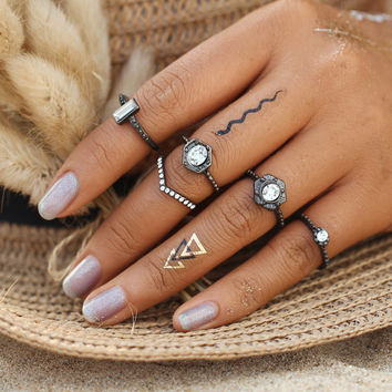 2017HOT Vintage Punk Boho Ring Sets Fashion New Gun Black Knuckle Gothic vintage 5PCS/ Set Midi finger Rings for Women anillos 0527