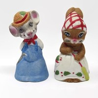 Vintage Mouse Bells by Jasco, Mr. and Mrs. Country Mouse Bells