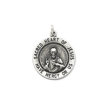 925 Sterling Silver Sacred Heart of Jesus Medal Charm Pendant - 23mm