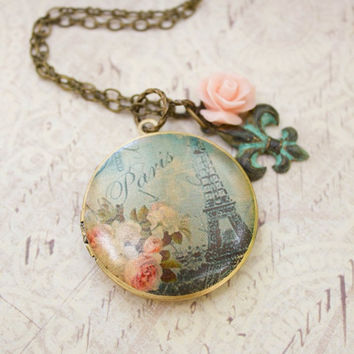 Paris Locket Necklace Pink Rose Charm Long Necklace Patina Flower Charm Necklace French Locket Floral Photo Locket Secret Hiding Place