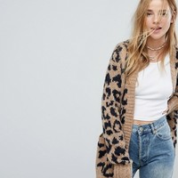 Hollister Leopard Print Knit Cardigan at asos.com