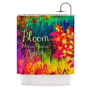 "Ebi Emporium ""Bloom Where You're Planted"" Floral Shower Curtain"