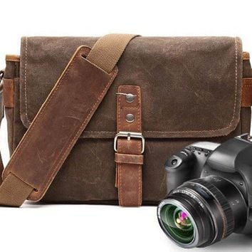 BLUESEBE UNISEX WATERPROOF WAXED CANVAS MESSENGER CAMERA BAG FX8816