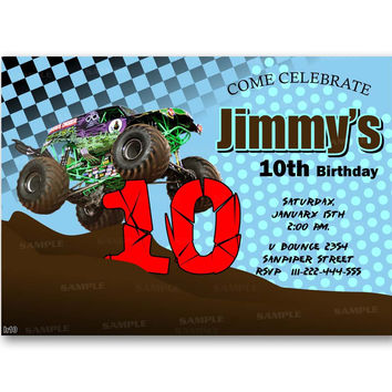 Grave Digger Monster Truck Polka Dot  Kids Birthday Invitation Party Design