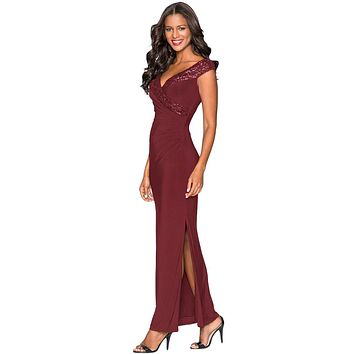 Red Sequin Wrap V Neckline Long Evening Dress