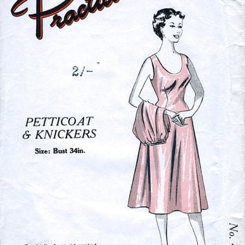 Unopened 1950's Petticoat Slip And Directoire Knickers Sewing Pattern - Vintage Lingerie - Practical Paper Patterns 4103 - Bust 34""