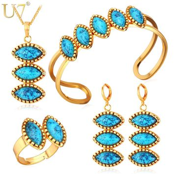 U7 Blue Stone Jewelry Sets For Women Gold/Silver Color Costume Wedding Jewelry Set For Brides Turkish Jewelry S697