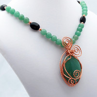 Aventurine, Onyx and Copper Pendant Necklace, Stone Pendant Necklace, Wire Wrapped Pendant Necklace, Statement Necklace, Trending Jewelry