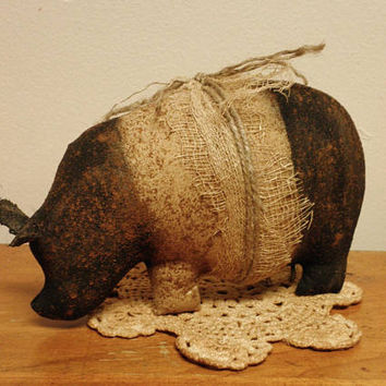 Primitive Pot Belly Pig - Made To Order, Hampshire Pigs, Primitive Animals, Barnyard Animals, Primitive Pigs, Handmade Pigs, Fabric Hogs