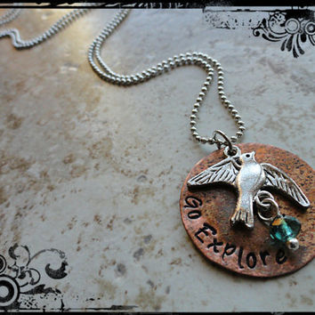 Go Explore Hand Stamped Copper and Silver Flying Bird with Blue Bead Charm Necklace