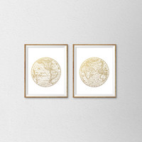 Vintage World Map Faux Gold Foil Print Set. Set of 2 Prints. Vintage Inspired. Travel Art. Office Decor. Bedroom Prints. Modern Home Decor.