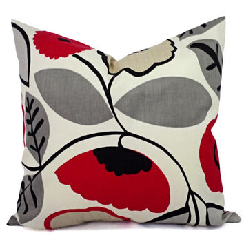 Two Decorative Throw Pillow Covers in Red Grey and Black Floral Print - 18 x 18 inch Pillow Cover - Decorative Throw Pillow - Accent Pillow