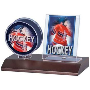 Ultra Pro Wood Base Puck & Card Holder Wooden Hockey Display Case