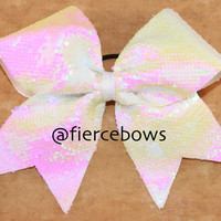 Pearl White Reversible Sequin Cheer Bow