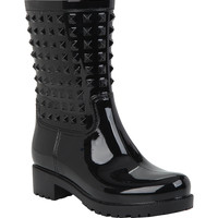 Black Pyramid Studded Jelly Rain Boots