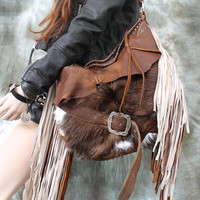 XL cowhide leather bag rusted brown bag furry hobo tribal southwestern bohemian boho western sweet smoke free people distressed bag moroccan