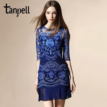 Tanpell embroidery cocktail dress hollow half sleeves knee length pleated gown cheap mesh light apricot short cocktail dresses