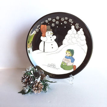 Vintage Burkart Handarbeit German Handmade Holiday Plate