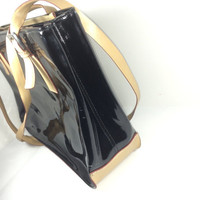 The Vintage fine italian, black patent leather handbag