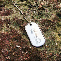Initials Dog Tag Necklace - Personalized Initials Necklace - Personalized Handstamped Necklace