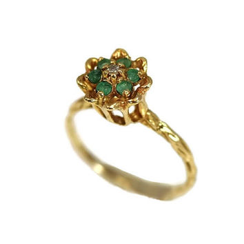 Emerald Flower Cluster Ring 10k with Diamond Accent High Profile Setting Vintage