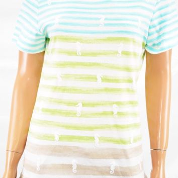 Karen Scott Women Short-Sleeve Scoop Neck Multi Striped-Printed Blouse Top M