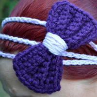 Princess bow headband in plum and lavender, bow tie crochet headband, Three strand crochet hairband