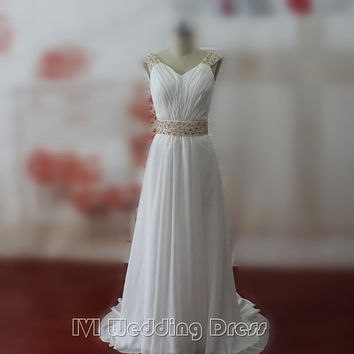 Real Samples Boho Wedding Dresses with Pearls Beach Wedding Gowns Sweep Train Bridal Gowns Plus Size Bridal Dress