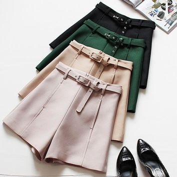 2017 solid woman casual shorts green summer slim high waist short with pockets khaki wide leg shorts