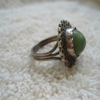 Vintage Signed Sterling Silver Size 5 Ring with a Jasper Stone