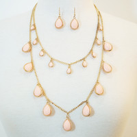 Dual Layered Peach Water Drop Earrings & Necklace Set