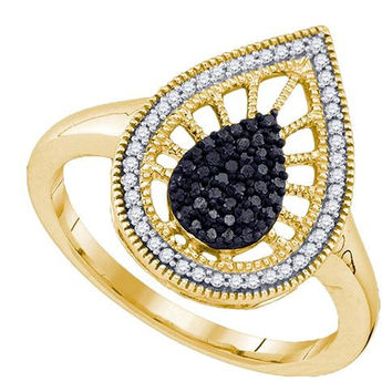 10K Yellow-gold 0.25CT BLACK DIAMOND MICRO PAVE RING