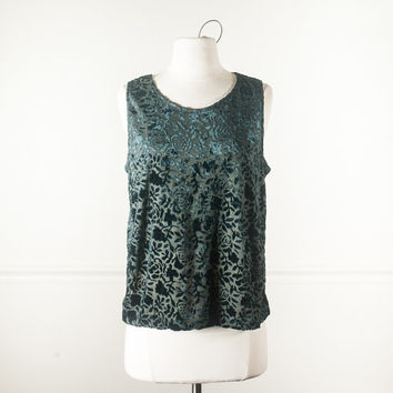 90s Crushed Velvet Top   90s Top 90s Shirt Floral Print Festival Alternative Soft Grunge Boho 80s Top Romantic Top Rose Forest Green Goth