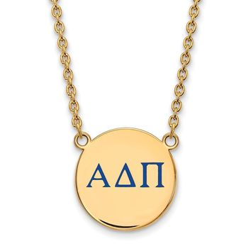 14K Plated Silver Alpha Delta Pi Large Enamel Necklace
