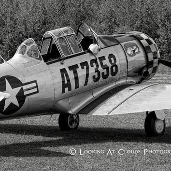 T-6 SNJ aviation photography, black and white airplane art photo, nose art, warbird