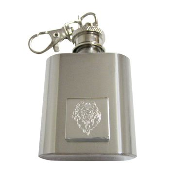 Silver Toned Etched Lion Head 1 Oz. Stainless Steel Key Chain Flask