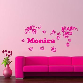 Wall Vinyl Decal Sticker Bedroom Kids Decal Custom Name Words Flowers  z234