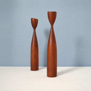 Vintage Danish Modern Turned Wood Candle Sticks Holders